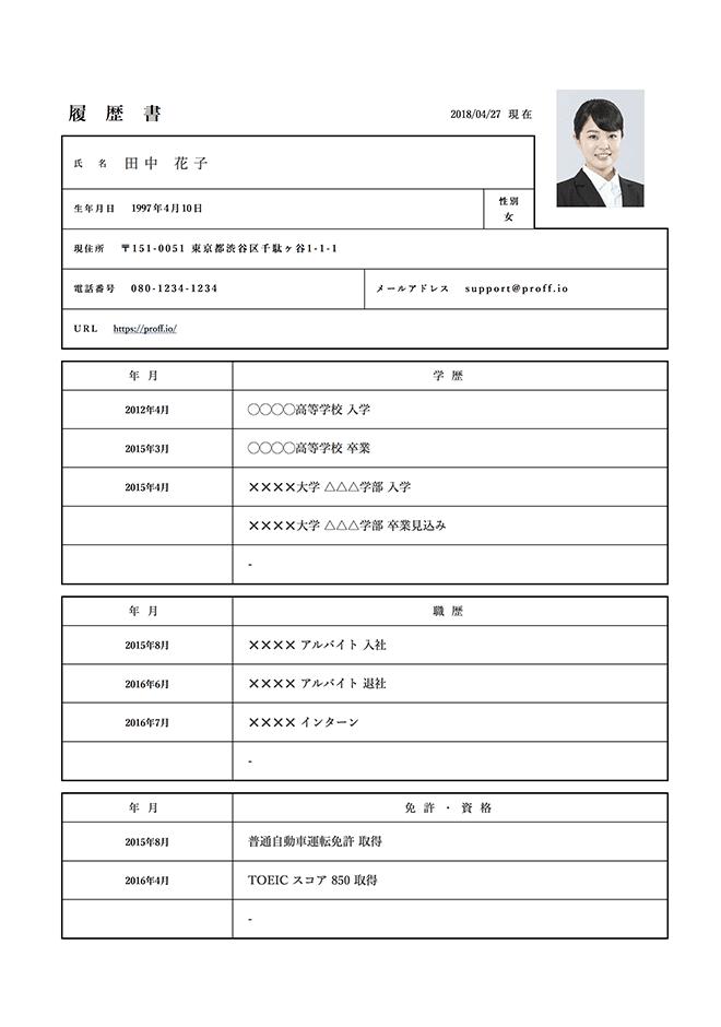 日本式履歴書