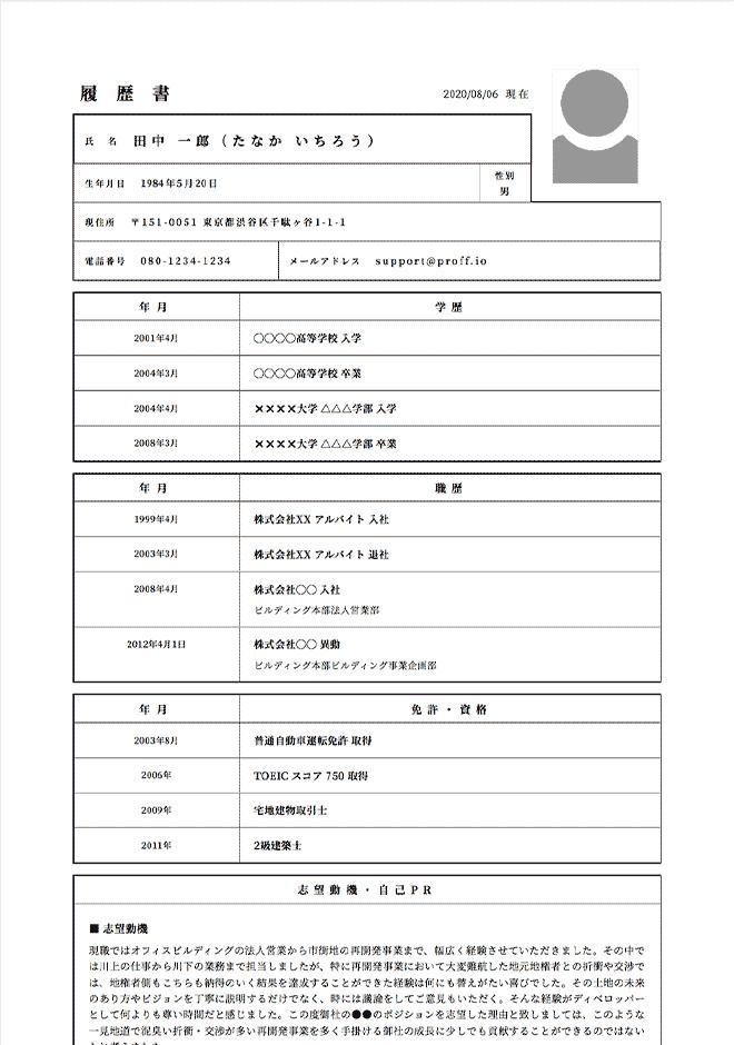 不動産ディベロッパー(法人営業)の履歴書サンプル