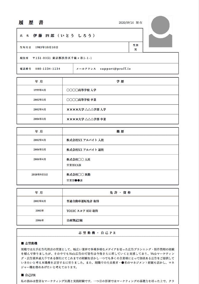広告代理店(広告営業・アカウントプランナー)の履歴書サンプル