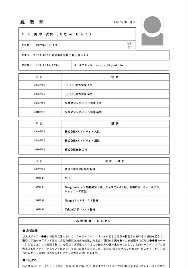 ウェブマーケターの履歴書サンプル